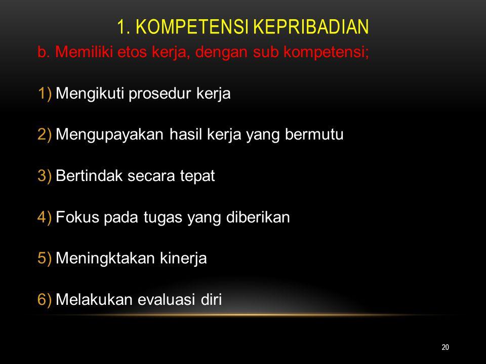 1. KOMPETENSI KEPRIBADIAN 20 b. Memiliki etos kerja, dengan sub kompetensi; 1)Mengikuti prosedur kerja 2)Mengupayakan hasil kerja yang bermutu 3)Berti