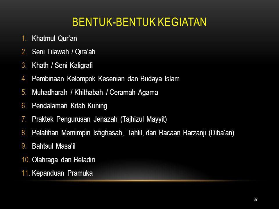 BENTUK-BENTUK KEGIATAN 37 1.Khatmul Qur'an 2.Seni Tilawah / Qira'ah 3.Khath / Seni Kaligrafi 4.Pembinaan Kelompok Kesenian dan Budaya Islam 5.Muhadhar