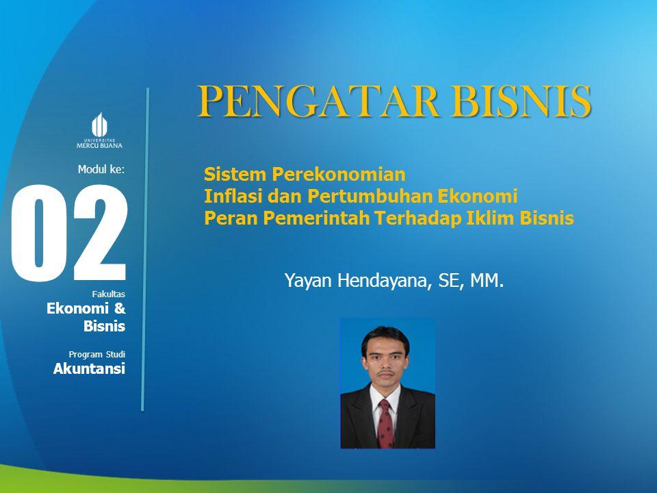 Modul ke: Fakultas Program Studi PENGATAR BISNIS Sistem Perekonomian Inflasi dan Pertumbuhan Ekonomi Peran Pemerintah Terhadap Iklim Bisnis Yayan Hend