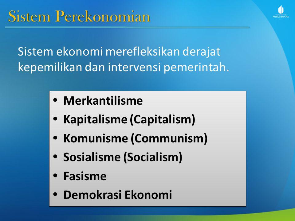 Sistem Perekonomian Sistem ekonomi merefleksikan derajat kepemilikan dan intervensi pemerintah.  Merkantilisme  Kapitalisme (Capitalism)  Komunisme