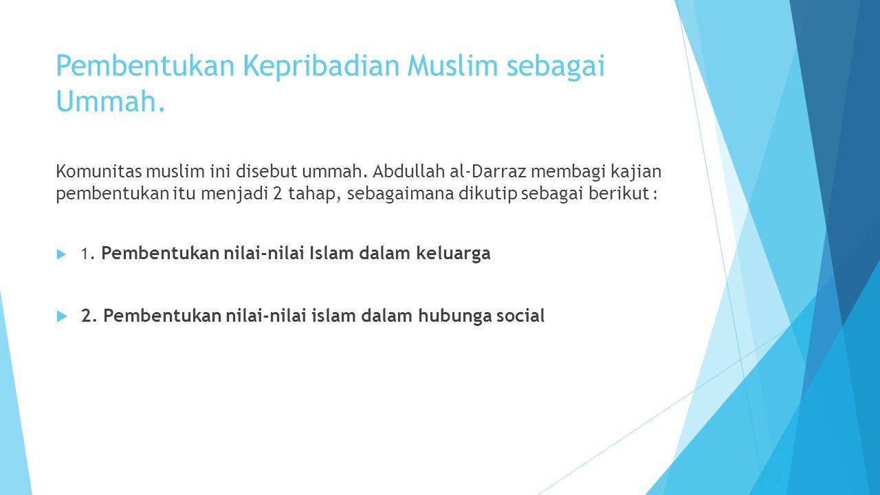 Pembentukan Kepribadian Muslim sebagai Ummah.Komunitas muslim ini disebut ummah.