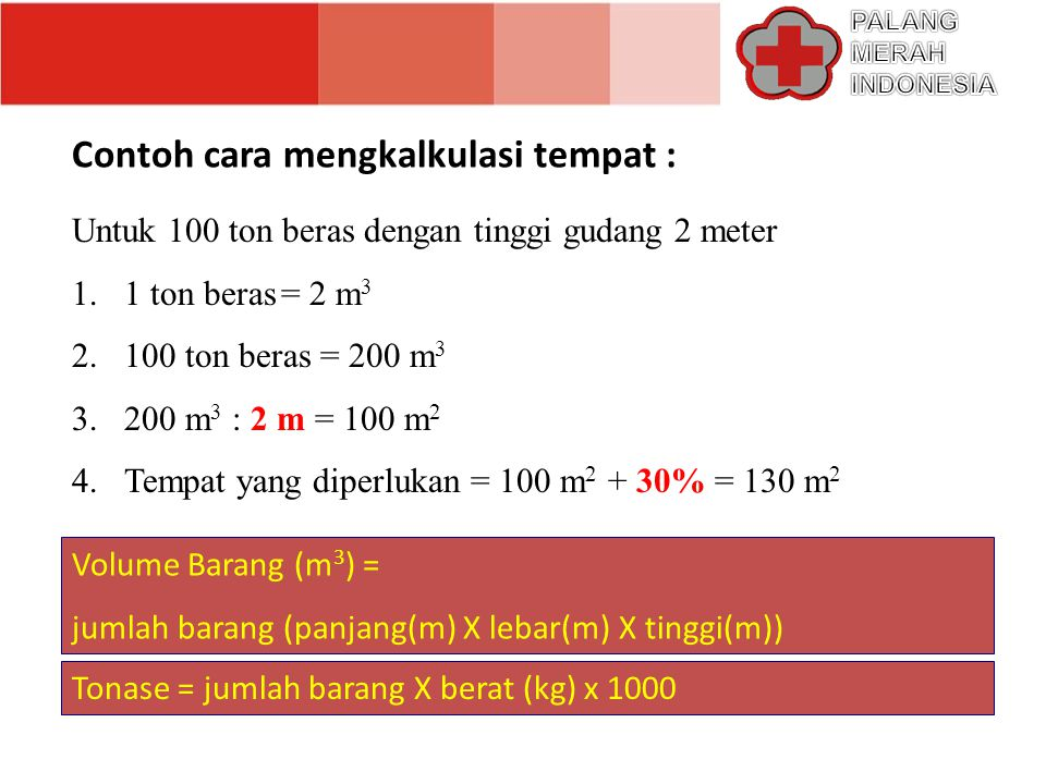 Catatan : 1 ton setiap item memerlukan ruang dalam meter kubik KEBUTUHAN RUANG UNTUK PENYIMPANAN BARANG NOJENIS BARANG KEBUTUHAN RUANG 1Beras, tepung, gula dalam kantung2 m 2 2Susu bubuk dalam kantong atau box3 m 2 3Obat obatan3 m 2 4Minyak sayur dalam drum atau kaleng1.5 - 2 m 2 5Selimut dalam bal (+ 700) 4 – 5 m 2 6Selimut tanpa bal8 - 10 m 2 7Pakaian7 – 10 m 2 8Tenda (+ untuk 25 keluarga)4 - 5 m 2 9Peralatan dapur dalam 35 –40 box4.5 m 2