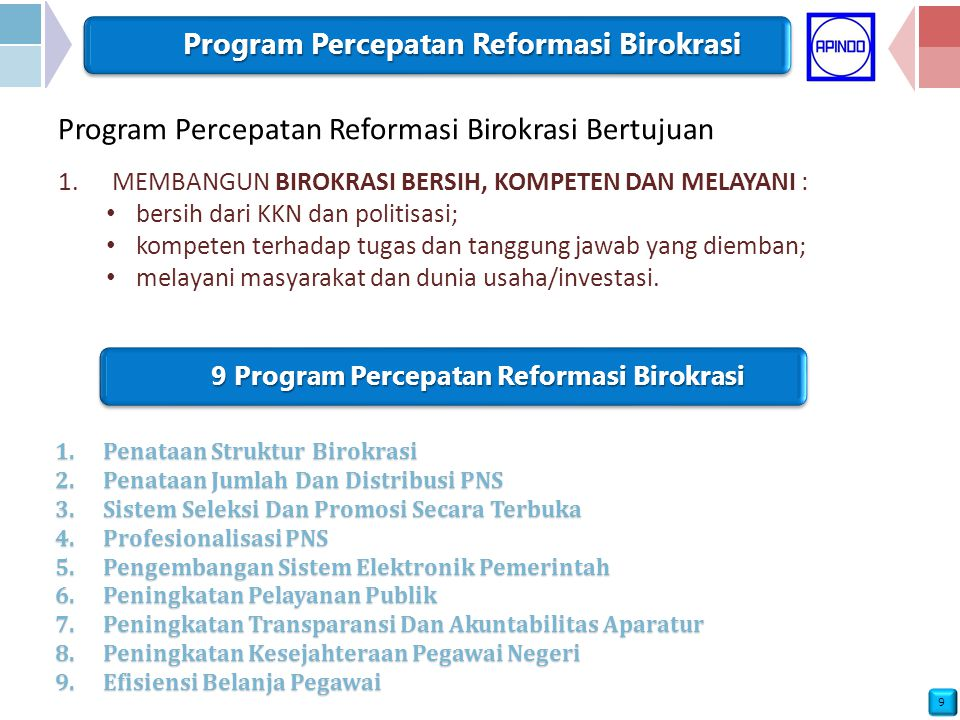 9 Program Percepatan Reformasi Birokrasi Program Percepatan Reformasi Birokrasi Bertujuan 1.MEMBANGUN BIROKRASI BERSIH, KOMPETEN DAN MELAYANI : bersih