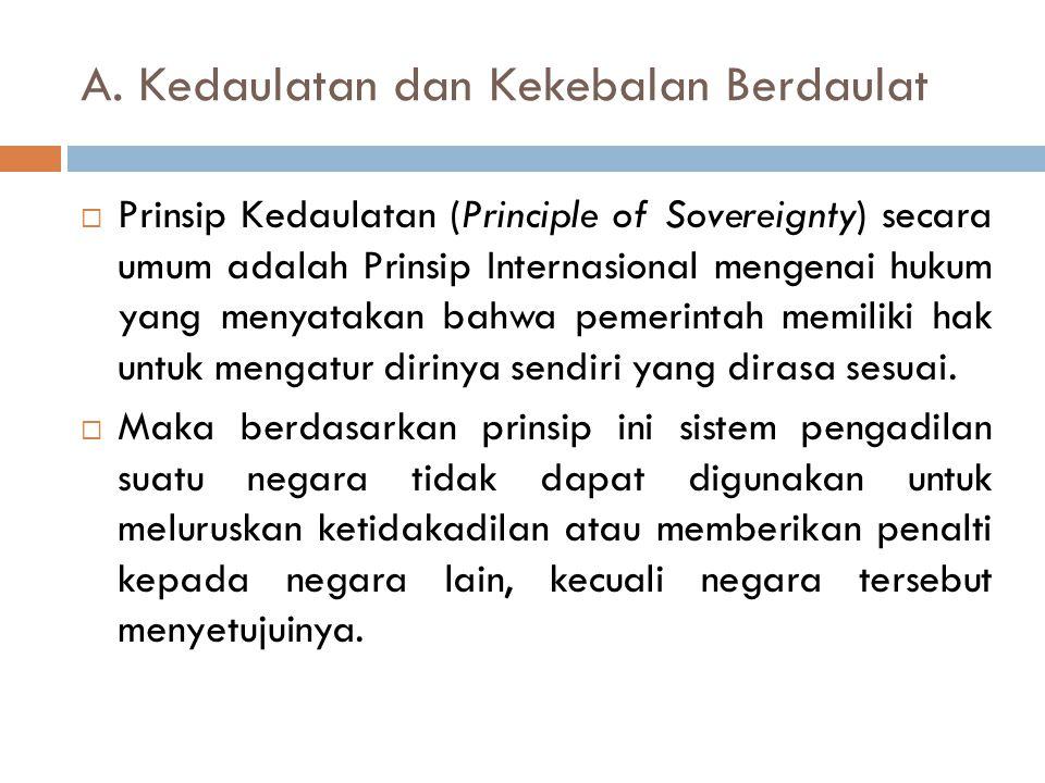 A. Kedaulatan dan Kekebalan Berdaulat  Prinsip Kedaulatan (Principle of Sovereignty) secara umum adalah Prinsip Internasional mengenai hukum yang men