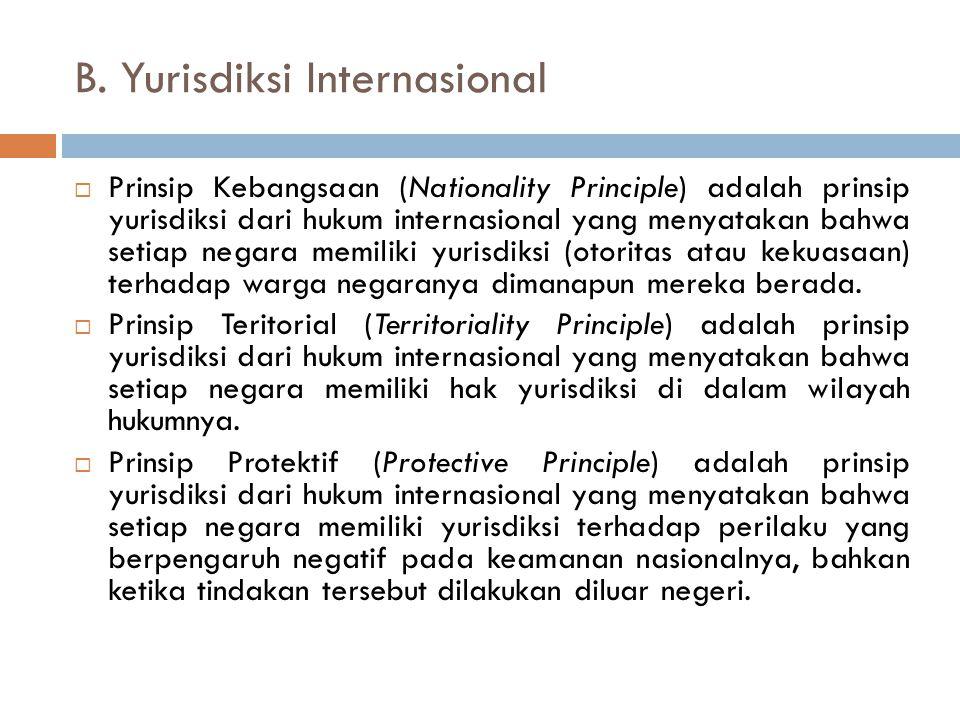 B. Yurisdiksi Internasional  Prinsip Kebangsaan (Nationality Principle) adalah prinsip yurisdiksi dari hukum internasional yang menyatakan bahwa seti