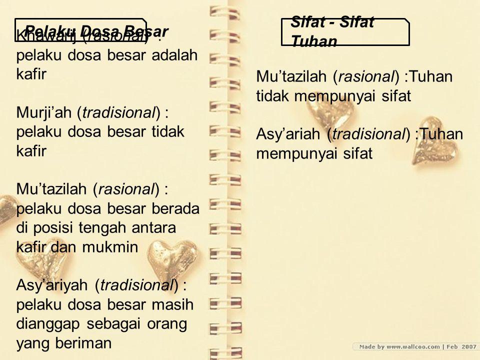 Khawarij (rasional) : pelaku dosa besar adalah kafir Murji'ah (tradisional) : pelaku dosa besar tidak kafir Mu'tazilah (rasional) : pelaku dosa besar