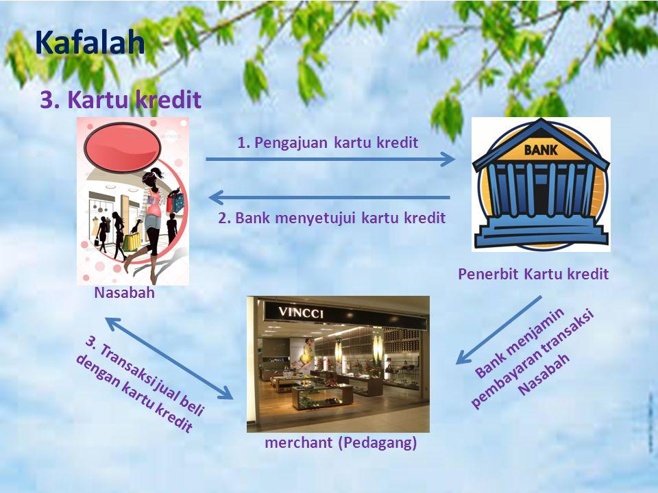 Kafalah 3. Kartu kredit 1. Pengajuan kartu kredit 2. Bank menyetujui kartu kredit Penerbit Kartu kredit Nasabah merchant (Pedagang) Bank menjamin pemb
