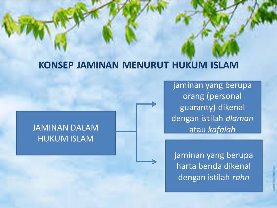 KONSEP JAMINAN MENURUT HUKUM ISLAM JAMINAN DALAM HUKUM ISLAM jaminan yang berupa orang (personal guaranty) dikenal dengan istilah dlaman atau kafalah