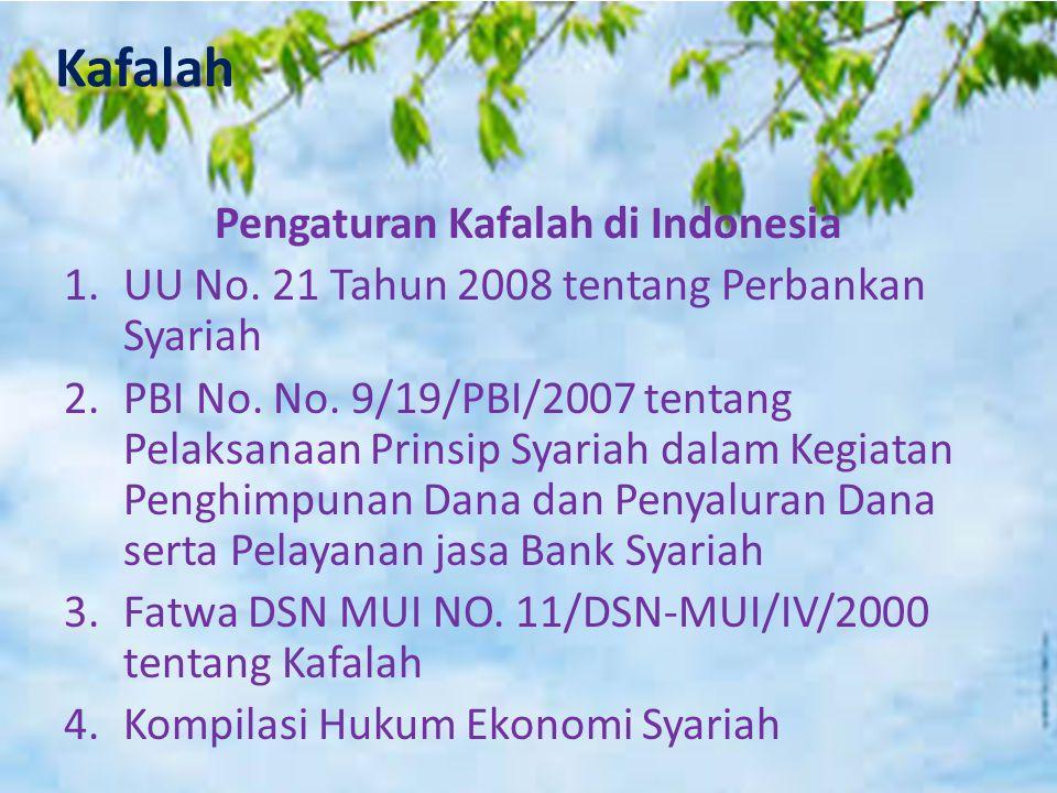 Kafalah Pengaturan Kafalah di Indonesia 1.UU No. 21 Tahun 2008 tentang Perbankan Syariah 2.PBI No. No. 9/19/PBI/2007 tentang Pelaksanaan Prinsip Syari