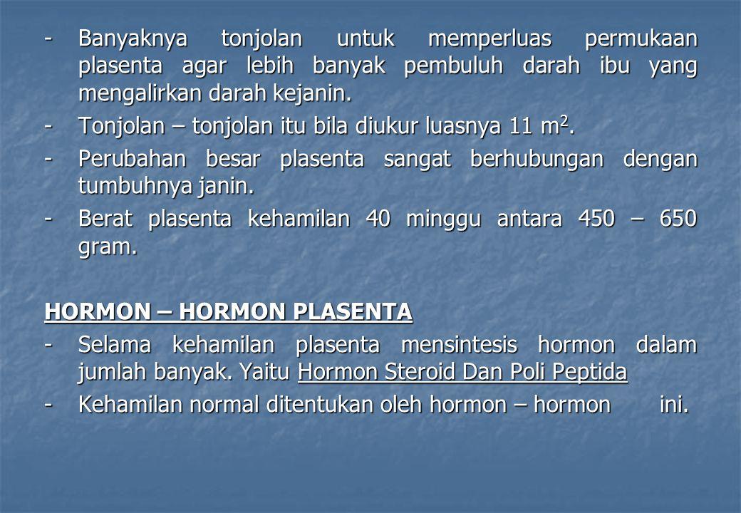 HORMON – HORMON STEROID -Plasenta menghasilkan hormon steroid : -Progesteron -Estradiol (estrogen) -Estron -Estriol -Pada kehamilan 7 – 8 minggu plasenta belum sepenuhnya menghasilkan hormon steroid, setelah masa ini, baru meningkat cepat.