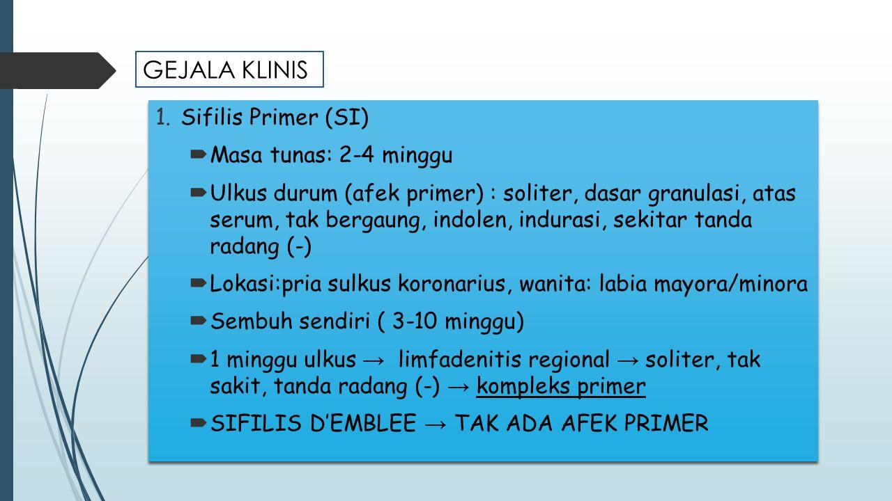 1.Sifilis Primer (SI)  Masa tunas: 2-4 minggu  Ulkus durum (afek primer) : soliter, dasar granulasi, atas serum, tak bergaung, indolen, indurasi, se