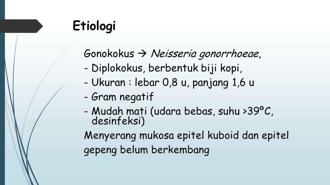 Etiologi Gonokokus  Neisseria gonorrhoeae, - Diplokokus, berbentuk biji kopi, - Ukuran : lebar 0,8 u, panjang 1,6 u - Gram negatif - Mudah mati (udar