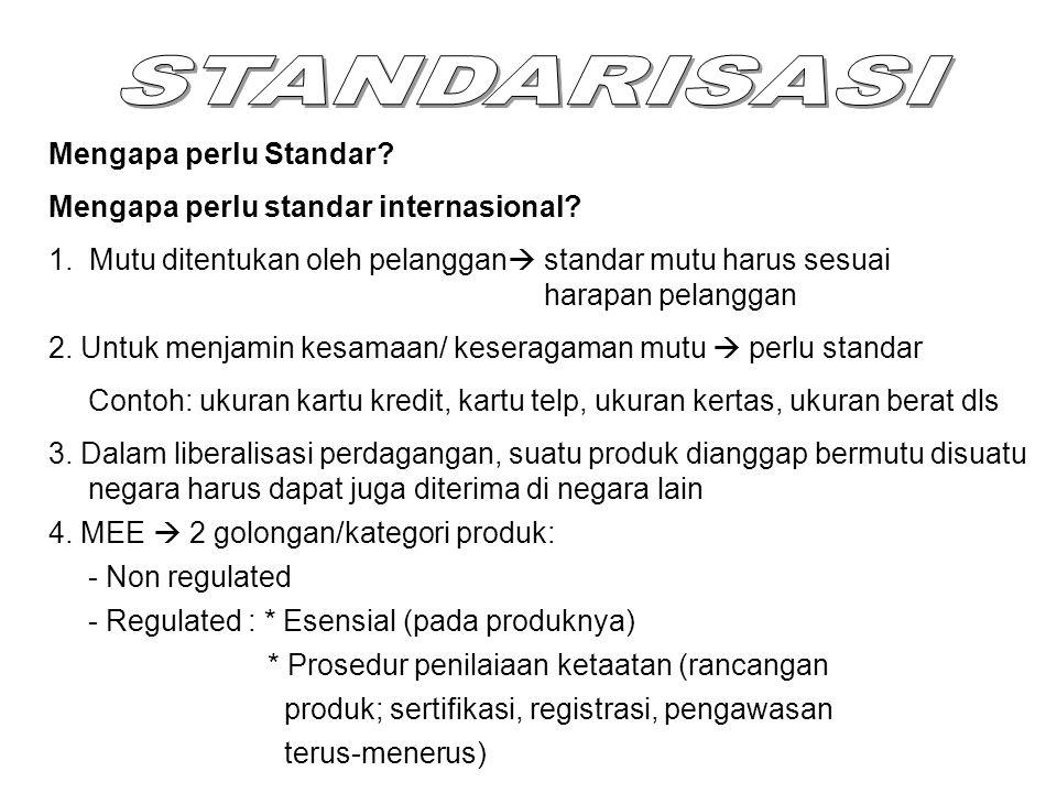 Mengapa perlu Standar? Mengapa perlu standar internasional? 1. Mutu ditentukan oleh pelanggan  standar mutu harus sesuai harapan pelanggan 2. Untuk m