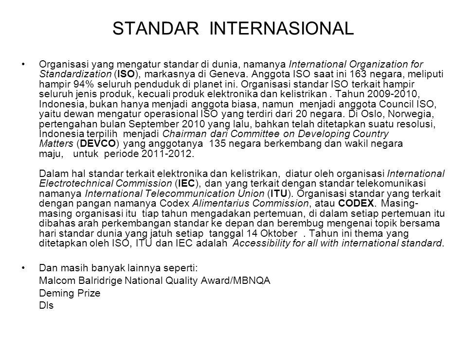 STANDAR INTERNASIONAL Organisasi yang mengatur standar di dunia, namanya International Organization for Standardization (ISO), markasnya di Geneva. An