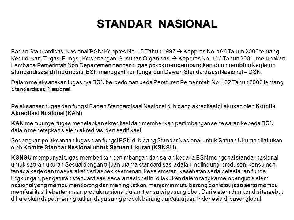 STANDAR NASIONAL Badan Standardisasi Nasional/BSN: Keppres No. 13 Tahun 1997  Keppres No. 166 Tahun 2000 tentang Kedudukan, Tugas, Fungsi, Kewenangan