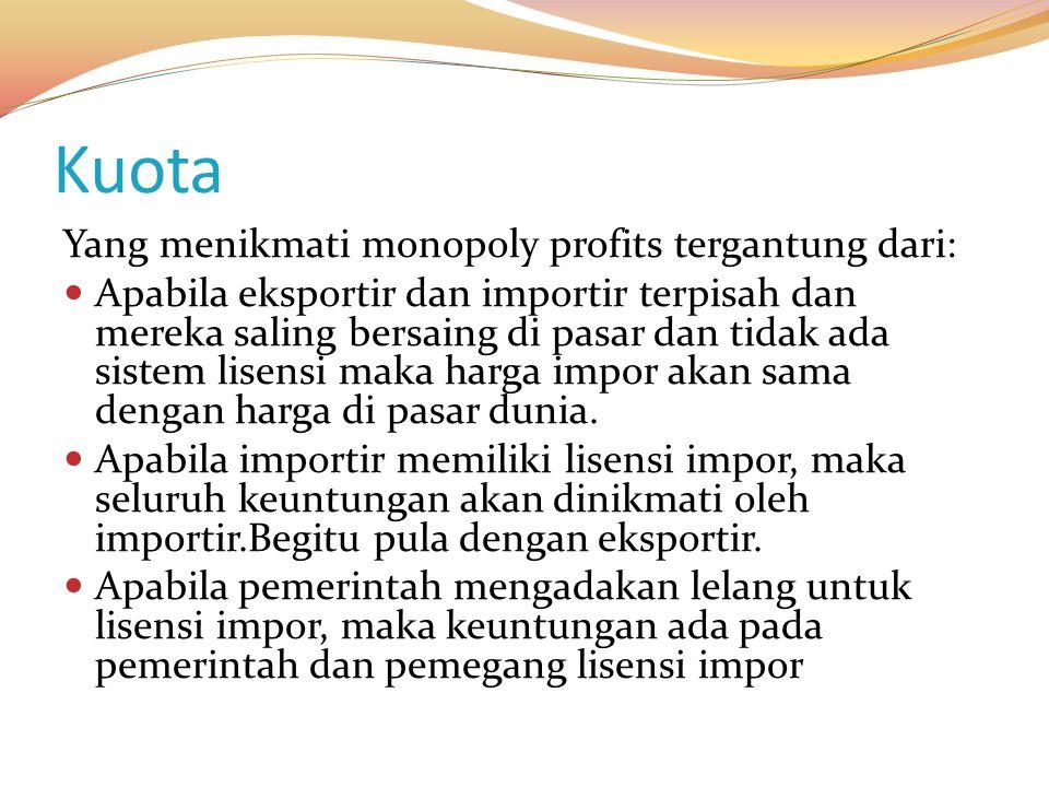 Kuota Yang menikmati monopoly profits tergantung dari: Apabila eksportir dan importir terpisah dan mereka saling bersaing di pasar dan tidak ada siste