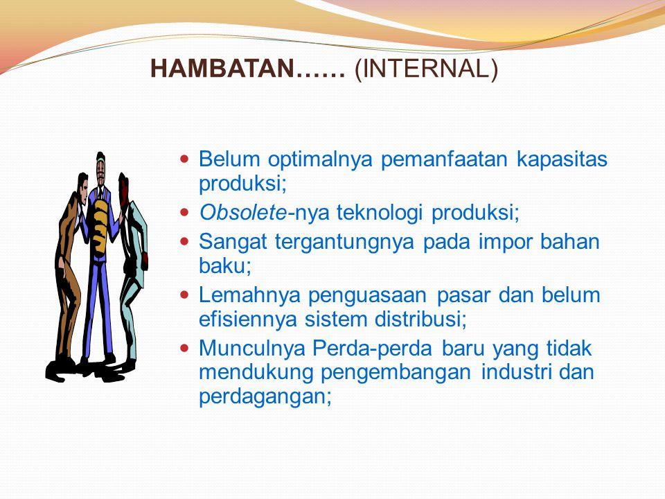 HAMBATAN…… (INTERNAL) Belum optimalnya pemanfaatan kapasitas produksi; Obsolete-nya teknologi produksi; Sangat tergantungnya pada impor bahan baku; Le