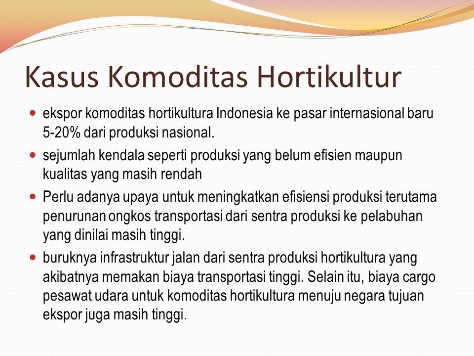 ekspor komoditas hortikultura Indonesia ke pasar internasional baru 5-20% dari produksi nasional. sejumlah kendala seperti produksi yang belum efisien