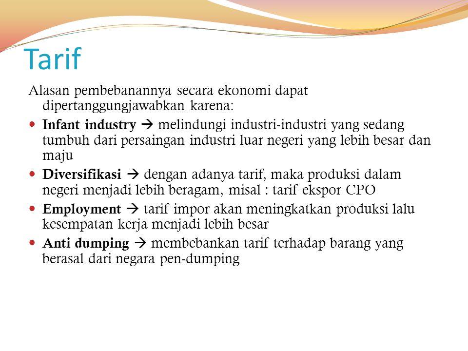 Tarif Alasan pembebanannya secara ekonomi dapat dipertanggungjawabkan karena: Infant industry  melindungi industri-industri yang sedang tumbuh dari p
