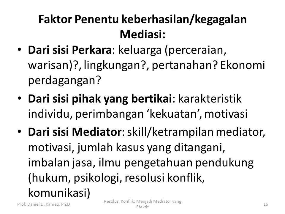 Faktor Penentu keberhasilan/kegagalan Mediasi: Dari sisi Perkara: keluarga (perceraian, warisan)?, lingkungan?, pertanahan? Ekonomi perdagangan? Dari