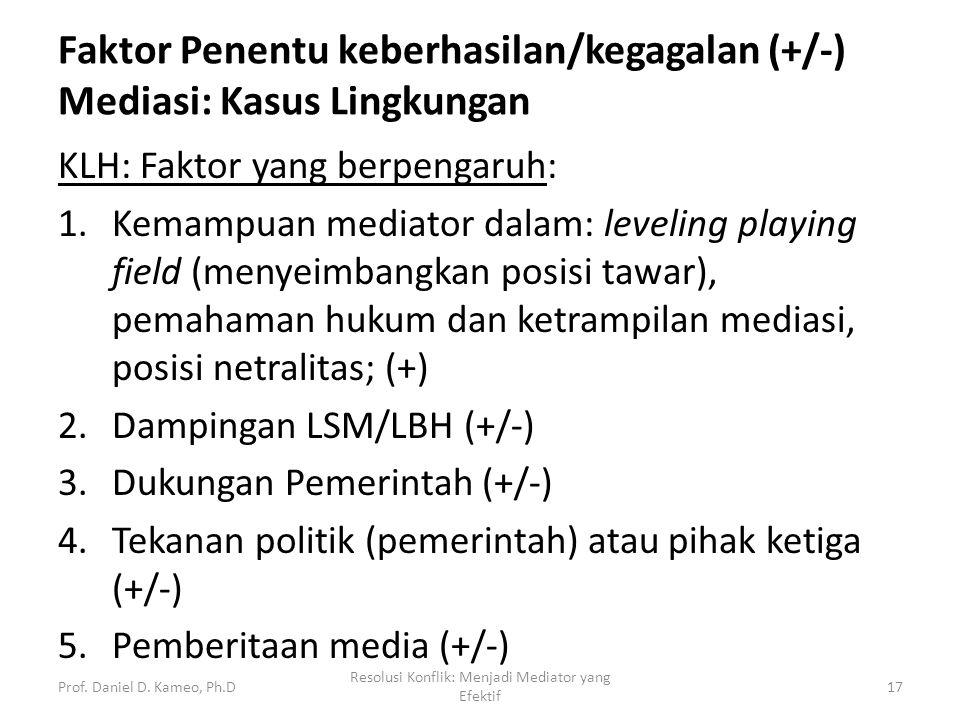 Faktor Penentu keberhasilan/kegagalan (+/-) Mediasi: Kasus Lingkungan KLH: Faktor yang berpengaruh: 1.Kemampuan mediator dalam: leveling playing field