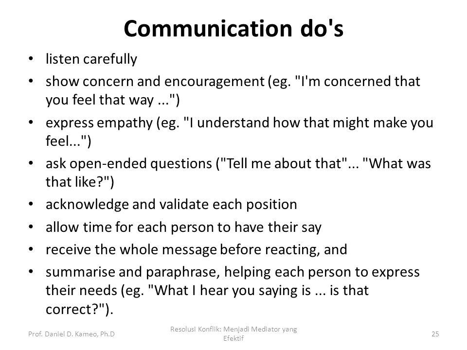 Communication do's listen carefully show concern and encouragement (eg.