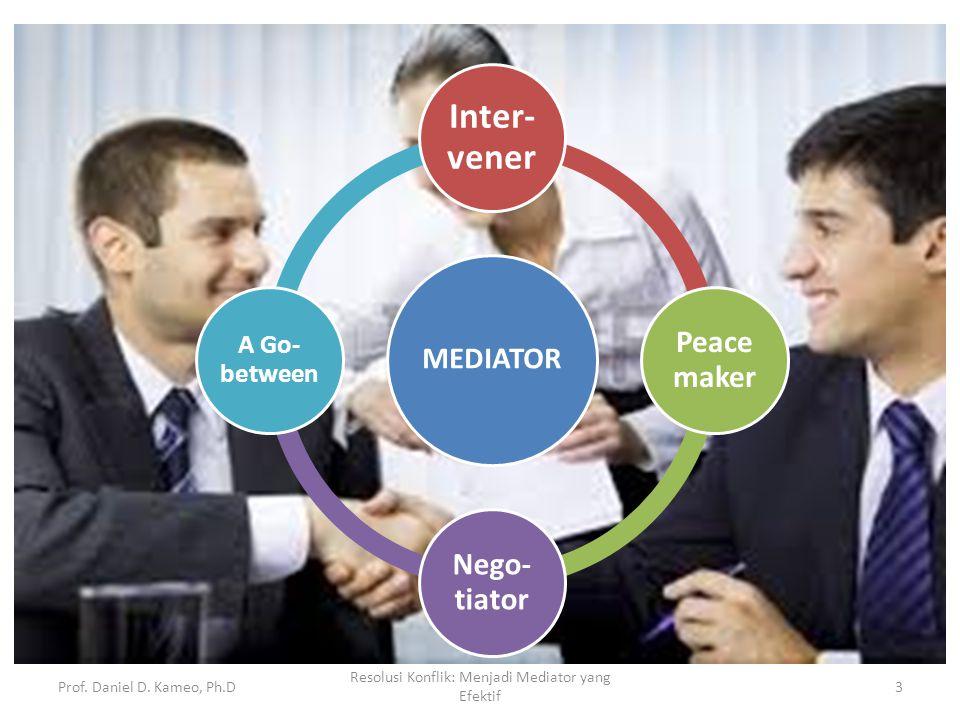 Prof. Daniel D. Kameo, Ph.D Resolusi Konflik: Menjadi Mediator yang Efektif 3 MEDIATOR Inter- vener Peace maker Nego- tiator A Go- between