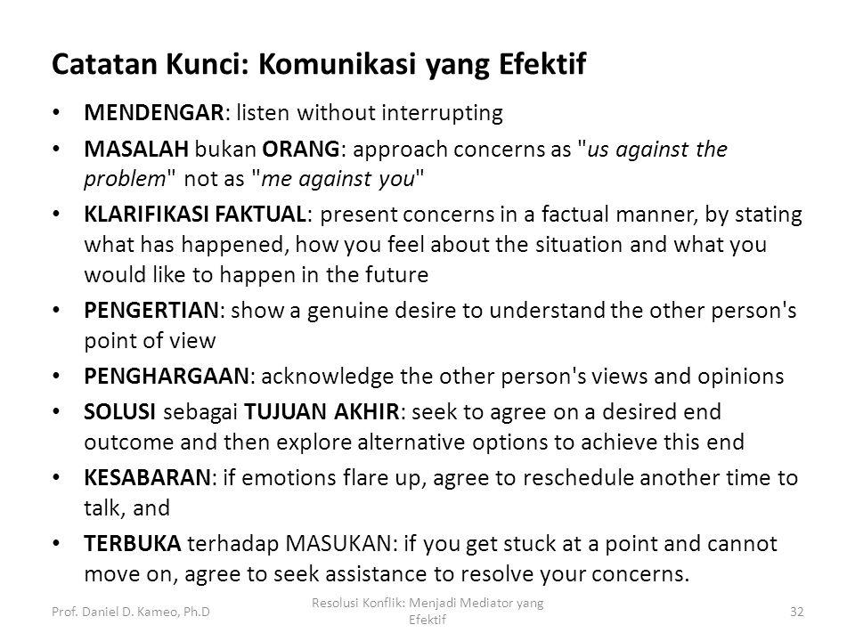 Catatan Kunci: Komunikasi yang Efektif MENDENGAR: listen without interrupting MASALAH bukan ORANG: approach concerns as