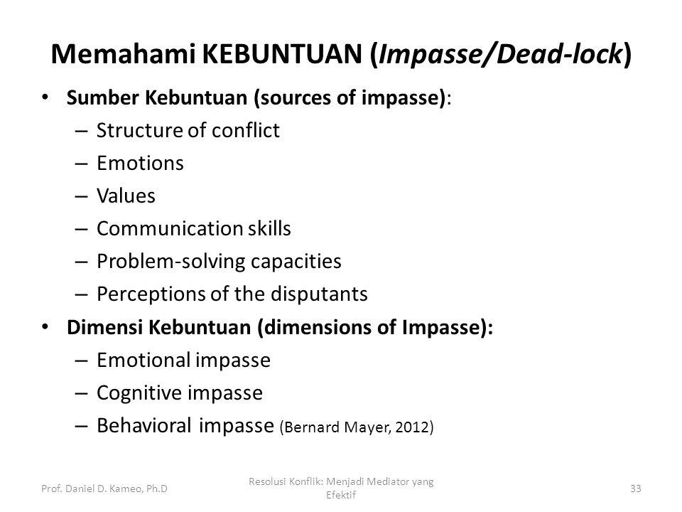 Memahami KEBUNTUAN (Impasse/Dead-lock) Sumber Kebuntuan (sources of impasse): – Structure of conflict – Emotions – Values – Communication skills – Pro
