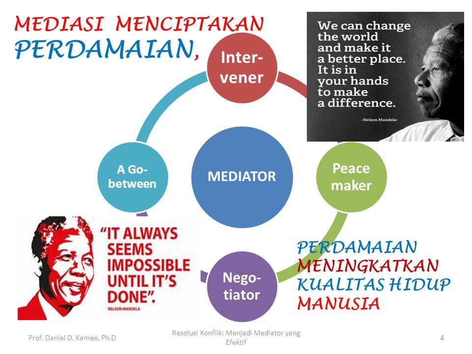 Prof. Daniel D. Kameo, Ph.D Resolusi Konflik: Menjadi Mediator yang Efektif 4 MEDIATOR Inter- vener Peace maker Nego- tiator A Go- between MEDIASI MEN
