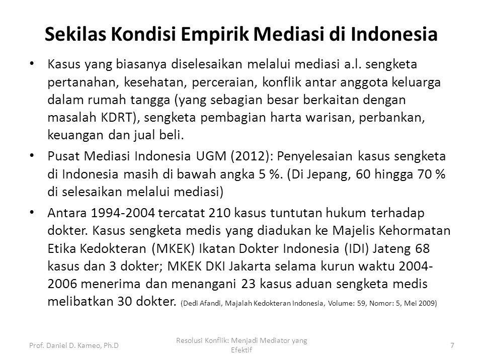 Sekilas Kondisi Empirik Mediasi di Indonesia Kasus yang biasanya diselesaikan melalui mediasi a.l. sengketa pertanahan, kesehatan, perceraian, konflik