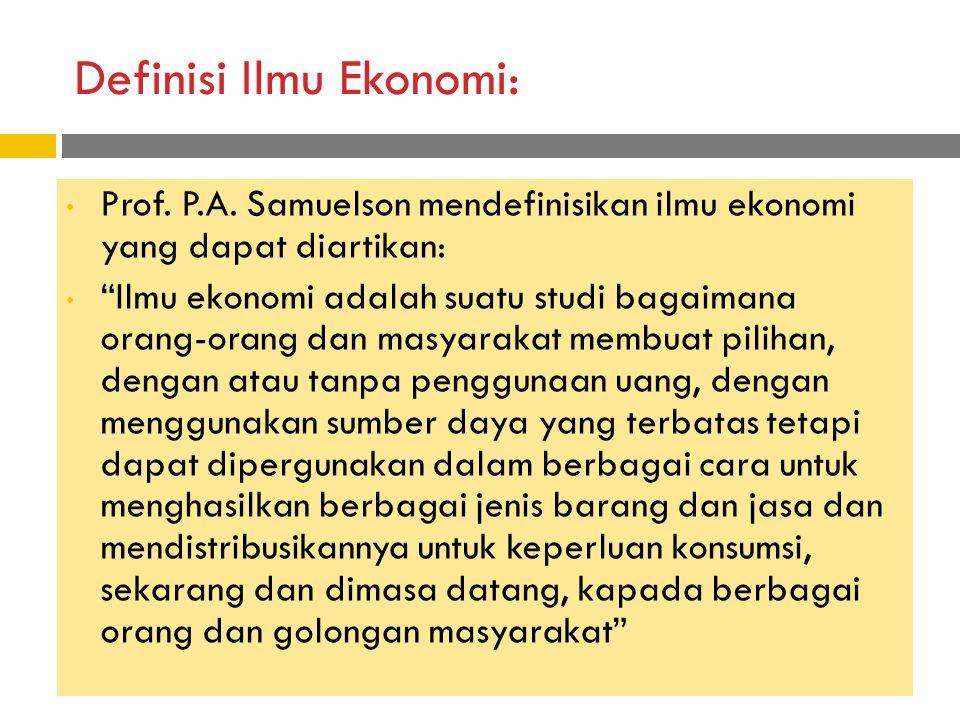Definisi Ilmu Ekonomi: Prof.P.A.