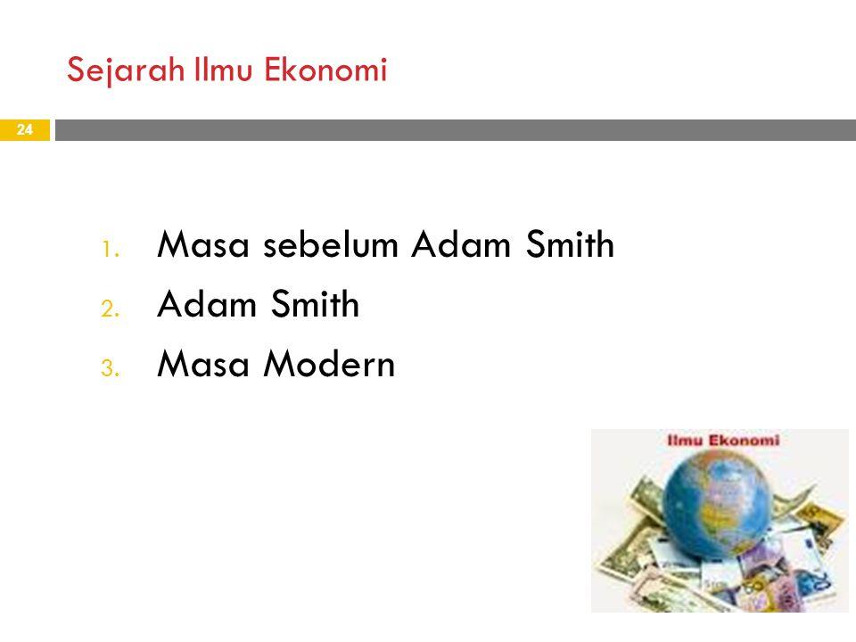 Sejarah Ilmu Ekonomi 24 1. Masa sebelum Adam Smith 2. Adam Smith 3. Masa Modern