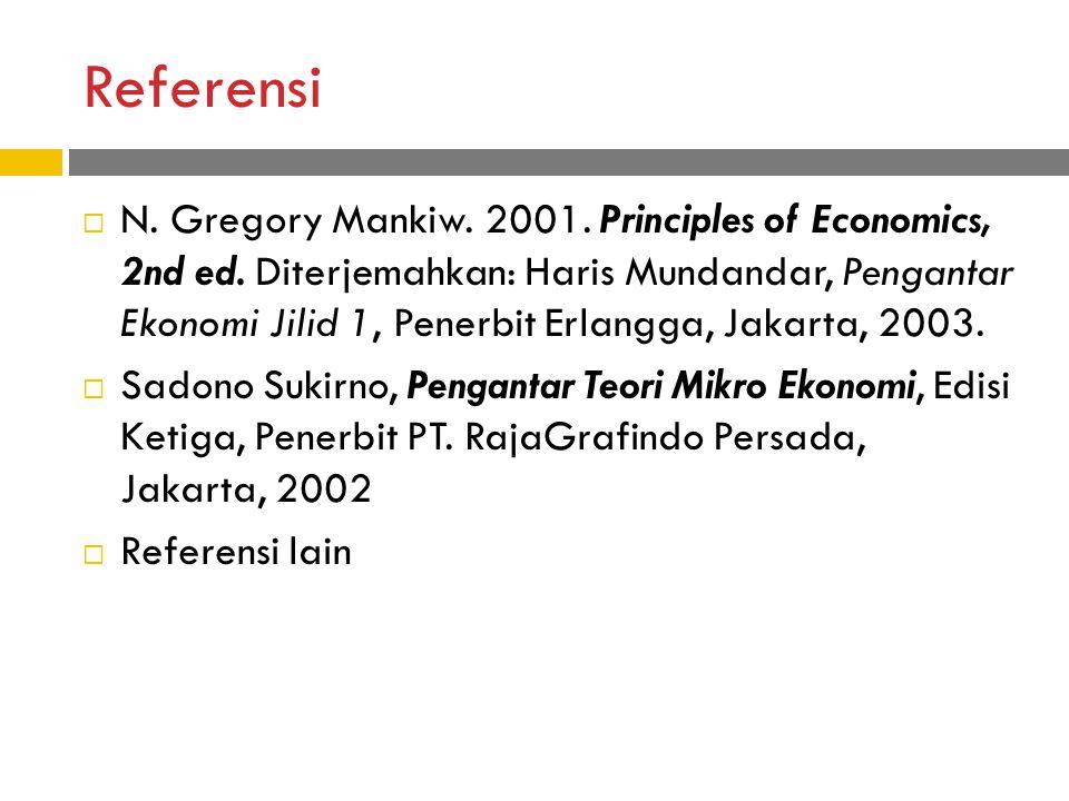 Referensi  N.Gregory Mankiw. 2001. Principles of Economics, 2nd ed.