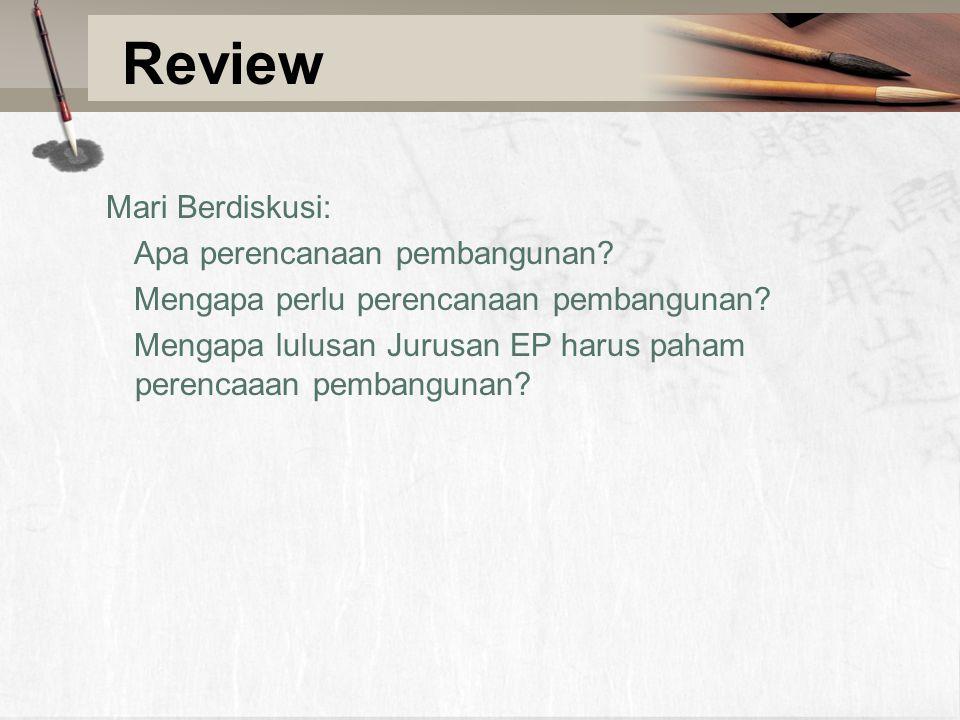 Review Mari Berdiskusi: Apa perencanaan pembangunan.