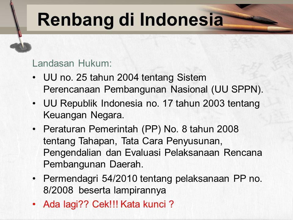 Renbang di Indonesia Landasan Hukum: UU no. 25 tahun 2004 tentang Sistem Perencanaan Pembangunan Nasional (UU SPPN). UU Republik Indonesia no. 17 tahu