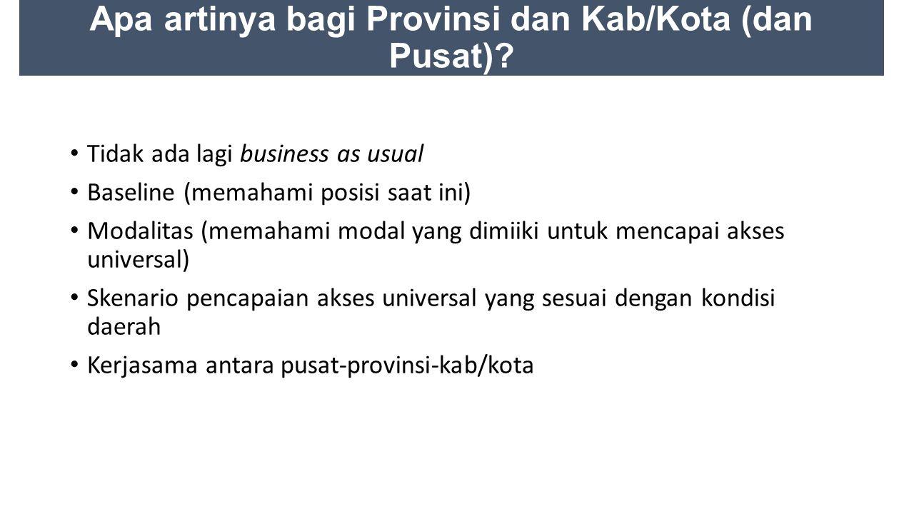 Apa artinya bagi Provinsi dan Kab/Kota (dan Pusat).