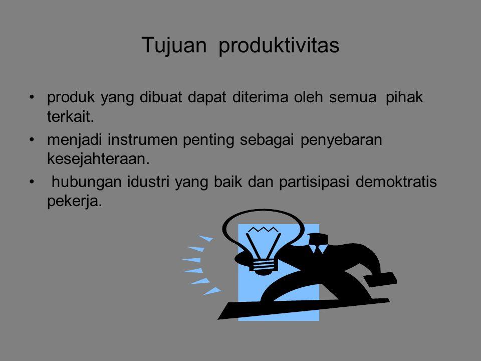 Tujuan produktivitas produk yang dibuat dapat diterima oleh semua pihak terkait.