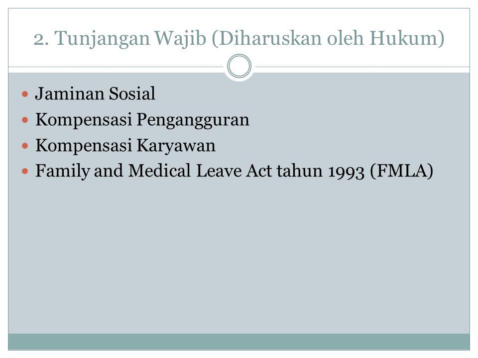 2. Tunjangan Wajib (Diharuskan oleh Hukum) Jaminan Sosial Kompensasi Pengangguran Kompensasi Karyawan Family and Medical Leave Act tahun 1993 (FMLA)