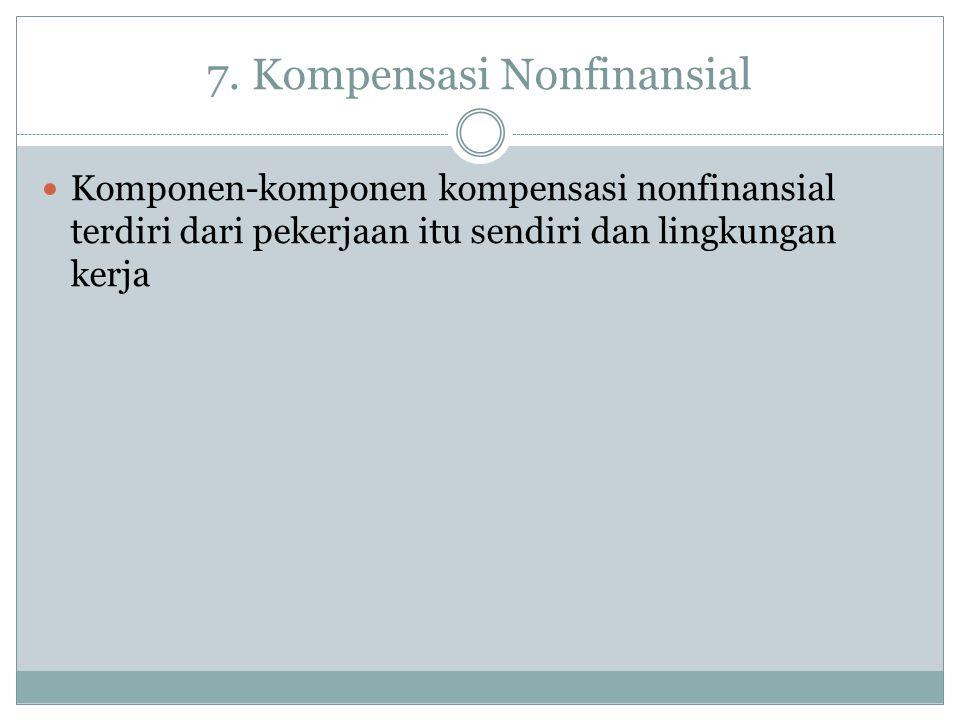 7. Kompensasi Nonfinansial Komponen-komponen kompensasi nonfinansial terdiri dari pekerjaan itu sendiri dan lingkungan kerja