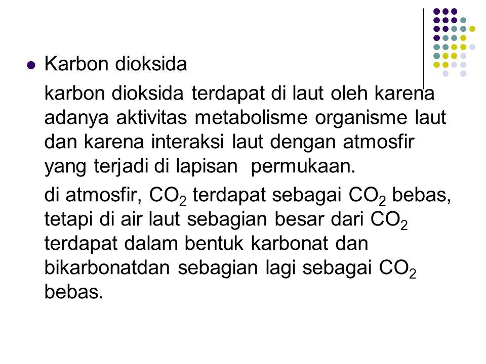 Karbon dioksida karbon dioksida terdapat di laut oleh karena adanya aktivitas metabolisme organisme laut dan karena interaksi laut dengan atmosfir yan