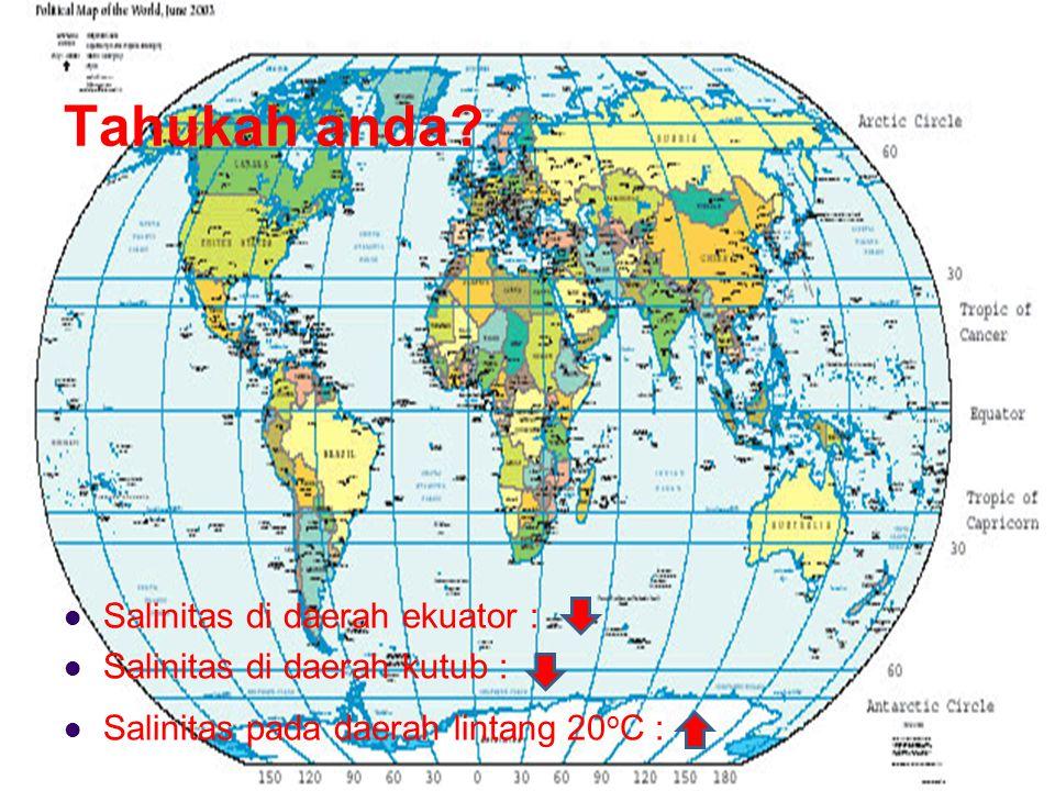 Tahukah anda? Salinitas di daerah ekuator : Salinitas di daerah kutub : Salinitas pada daerah lintang 20 o C :