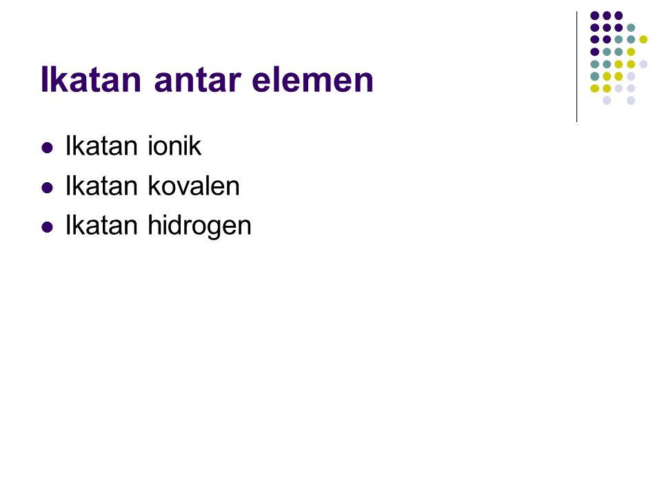 Ikatan ionik Salah satu elemen memberikan elektronnya (elemen positif), sementara elemen yang lain menerima elektron ini dan menjadi elemen negatif.