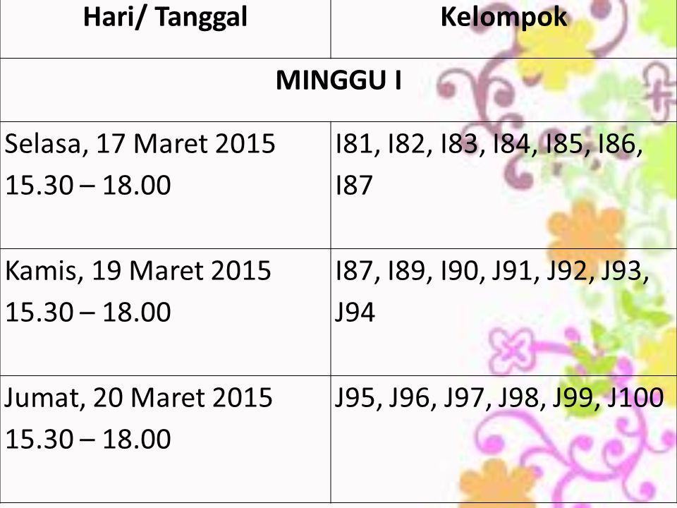 Hari/ TanggalKelompok MINGGU I Selasa, 17 Maret 2015 15.30 – 18.00 I81, I82, I83, I84, I85, I86, I87 Kamis, 19 Maret 2015 15.30 – 18.00 I87, I89, I90, J91, J92, J93, J94 Jumat, 20 Maret 2015 15.30 – 18.00 J95, J96, J97, J98, J99, J100