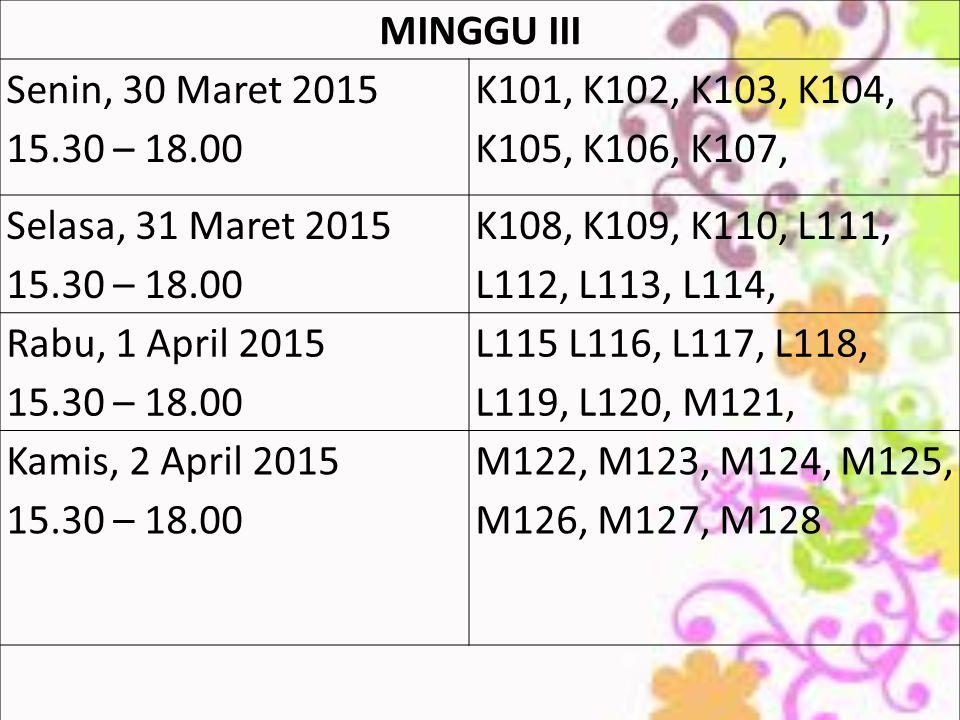 MINGGU III Senin, 30 Maret 2015 15.30 – 18.00 K101, K102, K103, K104, K105, K106, K107, Selasa, 31 Maret 2015 15.30 – 18.00 K108, K109, K110, L111, L112, L113, L114, Rabu, 1 April 2015 15.30 – 18.00 L115 L116, L117, L118, L119, L120, M121, Kamis, 2 April 2015 15.30 – 18.00 M122, M123, M124, M125, M126, M127, M128
