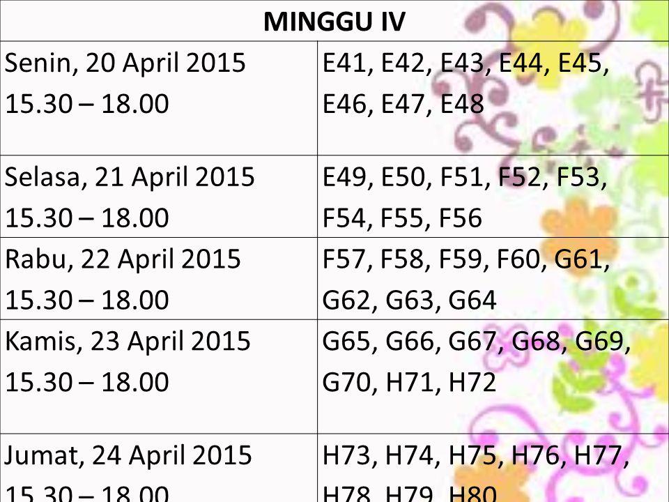 MINGGU IV Senin, 20 April 2015 15.30 – 18.00 E41, E42, E43, E44, E45, E46, E47, E48 Selasa, 21 April 2015 15.30 – 18.00 E49, E50, F51, F52, F53, F54, F55, F56 Rabu, 22 April 2015 15.30 – 18.00 F57, F58, F59, F60, G61, G62, G63, G64 Kamis, 23 April 2015 15.30 – 18.00 G65, G66, G67, G68, G69, G70, H71, H72 Jumat, 24 April 2015 15.30 – 18.00 H73, H74, H75, H76, H77, H78, H79, H80