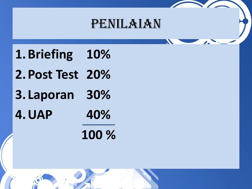 Penilaian 1.Briefing10% 2.Post Test20% 3.Laporan30% 4.UAP40% 100 %