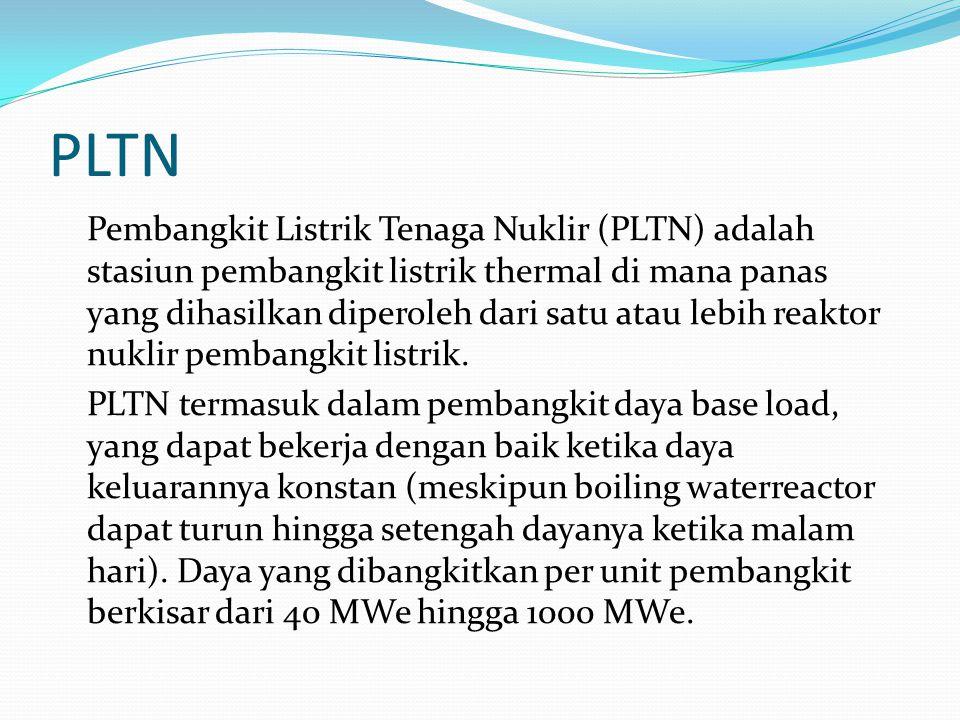 PLTN Pembangkit Listrik Tenaga Nuklir (PLTN) adalah stasiun pembangkit listrik thermal di mana panas yang dihasilkan diperoleh dari satu atau lebih re