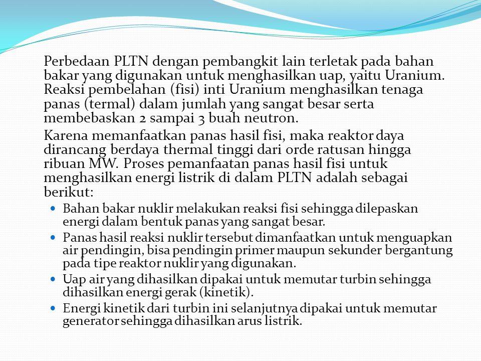 Perbedaan PLTN dengan pembangkit lain terletak pada bahan bakar yang digunakan untuk menghasilkan uap, yaitu Uranium. Reaksi pembelahan (fisi) inti Ur