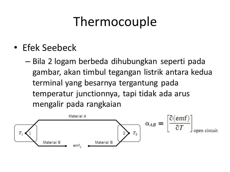 Thermocouple Efek Seebeck – Bila 2 logam berbeda dihubungkan seperti pada gambar, akan timbul tegangan listrik antara kedua terminal yang besarnya ter
